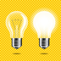 Wall Mural - Set of Realistic transparent light bulb, isolated.