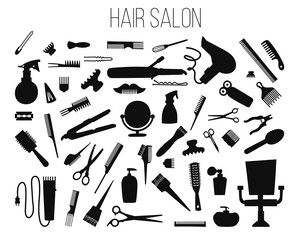 Hair salon - hair cut, manicure, makeup, hair coloring, hairdressing, styling professional beauty tools and equipment big set.