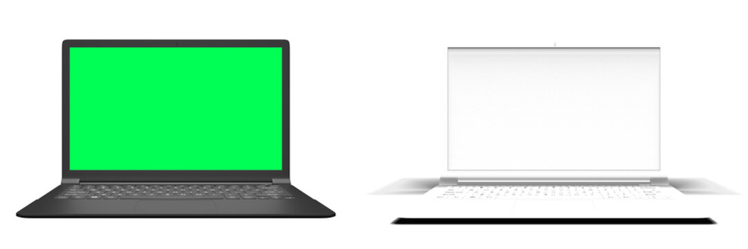 Modern Laptop windows with blank screen isolated on white background, Open Screen, separate shadow