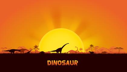 Dinosaurs in prehistoric scene. vector of dinosaurs background. Wall mural