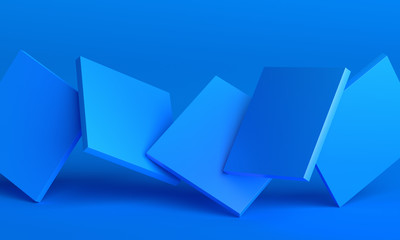 Obraz Abstract 3d render, background design with blue squares - fototapety do salonu