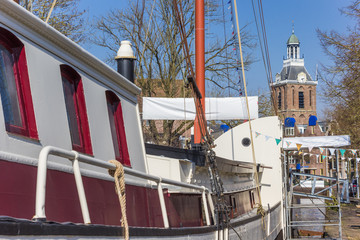 Fototapete - Old sailing ship at the quay in the center of Meppel, Netherlands