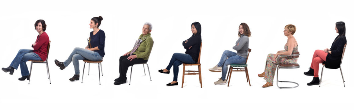 group of women sitting on chair on white background, side view