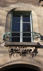 Window in the old art nouveau building