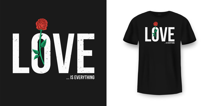 Slogan t-shirt graphic design with red rose. Female typography for tee print. Slogan t-shirt print in vintage style