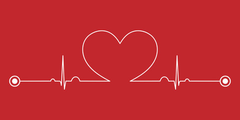 Normal electrocardiogram (ECG ,EKG) pattern with heart shape on red background.Pulse rate line.Cardiac beat.Vital sign.Medical health care concept.Vector.Illustration.