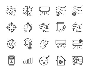 set of air condition icons, air, purify, cool, temperature