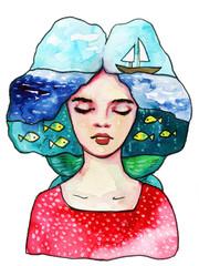 Foto op Textielframe Schilderkunstige Inspiratie Sea figure,