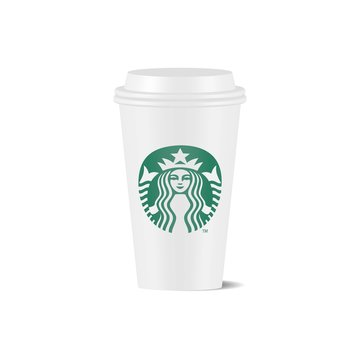Vector illustration of Starbucks white coffee cup isolated on white background. Starbucks is the world's largest coffee house