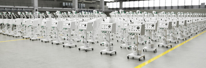 Lots of new ventilators and respirators in the warehouse of a coronavirus epidemic factory (3D Rendering)