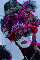 Beautiful and colourful mask at the Venice Carnival in Annecy by day, France