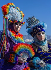 Beautiful and colourful costumes and masks at the Venice Carnival in Annecy by day, France