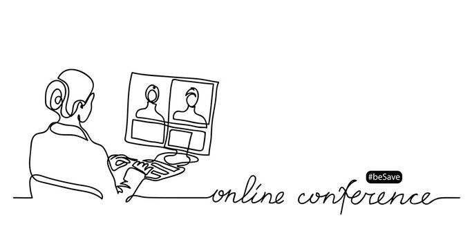 Online conference lettering and simple vector illustration.