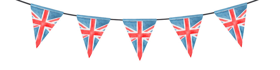 Watercolor illustration of festive British bunting with Union Jack triangular flag. Hand painted water color sketchy drawing on white background, cutout clip art element for design, print, decoration. Fotobehang