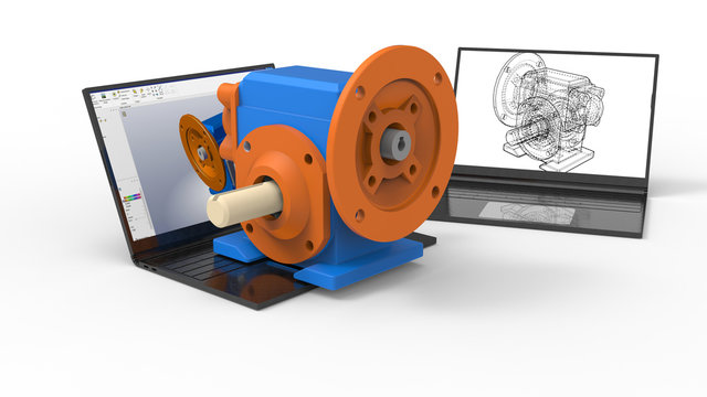 3D rendering - CAD of a gear reducer