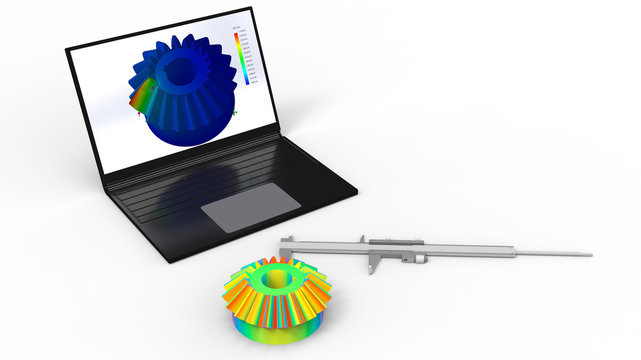 3D rendering - computer aided design of a bevel gear