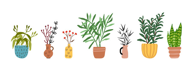 Set with cute potted plants and dry flowers. House indoor colorful decorative plant in ceramic pot and vase collection isolated on white. Hand drawn cartoon doodle style. Interior, home decor vector Fototapete