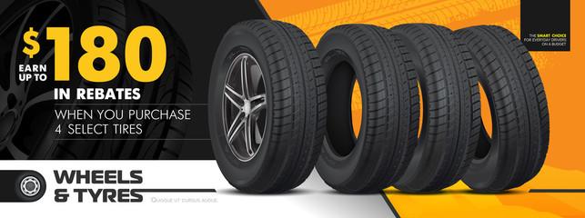 Tires car advertisement poster. Black rubber tyre. Realistic vector shining disk car wheel tyre. Information. Store. Action. Landscape poster, digital banner, flyer, booklet, brochure and web design.