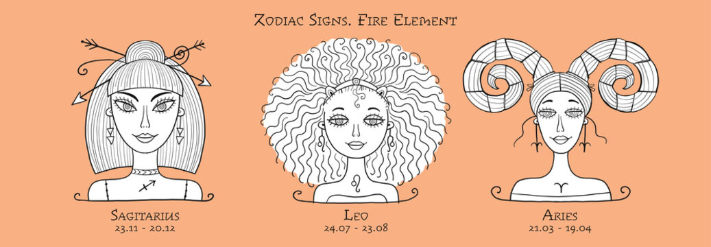 Illustration of Sagittarius, Leo, Aries zodiac sign. Element of Fire. Beautiful Girls Portrait. Coloring page For Your Design of Astrology Calendar, Horoscope, Print.