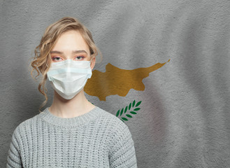 Fotobehang Cyprus Young woman wearing a face mask with Cyprus flag. Flu epidemic and virus protection concept