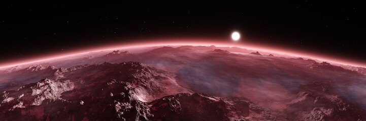 Stores photo Grenat Planet from orbit, Mars at sunrise, sunset over Mars, 3D rendering
