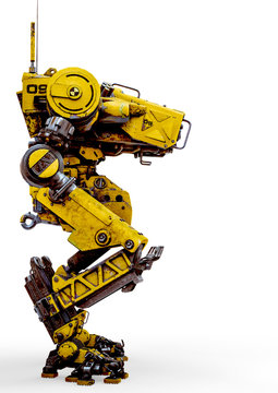 yellow combat mech in a white background side view