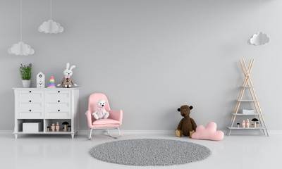 Sofa in gray child room interior, 3D rendering