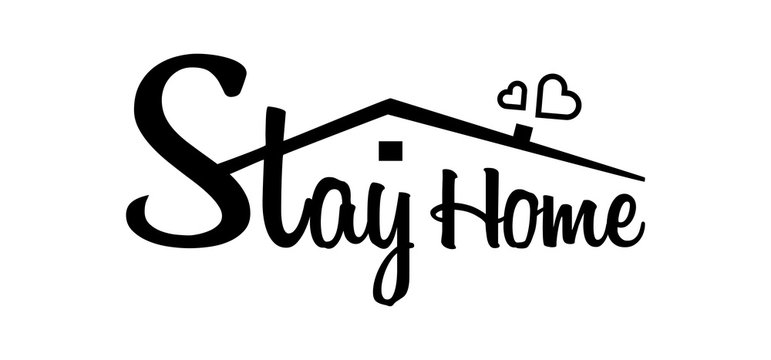 Stay home black colored, stay safe - Lettering typography. Stay at home, heart, home sticker symbol. Vector illustration