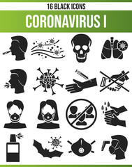 Black Icon Set Coronavirus I