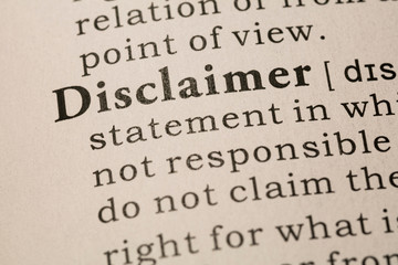Wall Mural - definition of word disclaimer