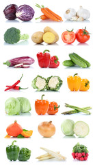 Wall Mural - Collection of vegetables tomatoes asparagus carrots lettuce fresh food vegetable isolated