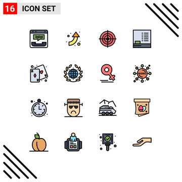 Pack of 16 Modern Flat Color Filled Lines Signs and Symbols for Web Print Media such as fun, , target, education, point