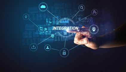 Hand touching INTEGRATION inscription, Cybersecurity concept