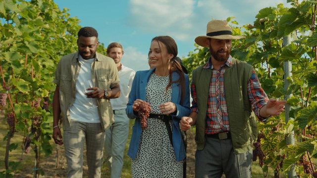 Group of beauty fashion friends walking with farmer on wine tour through gorgeous grapevine garden talking enjoying summertime at vineyard.