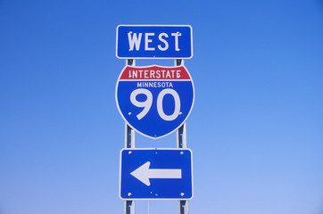 Wall Mural - A sign for interstate 90 west in Minnesota