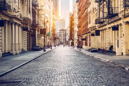 Empty street at sunset time in SoHo district in Manhattan, New York