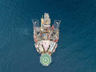 Wall Mural - Aerial view offshore jack up rig at the offshore location
