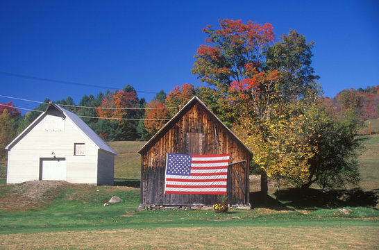 American Flag Hung on an Old Barn, Wyoming