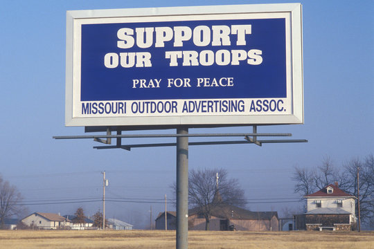 A sign that reads ÒSupport our troopsÓ