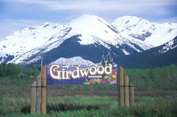 Wall Mural - A sign that reads ÒWelcome to Girdwood, AlaskaÓ
