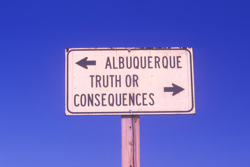 Wall Mural - A sign that reads ÒAlbuquerque/Truth or ConsequencesÓ