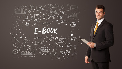 Businessman thinking with E-BOOK inscription, business education concept