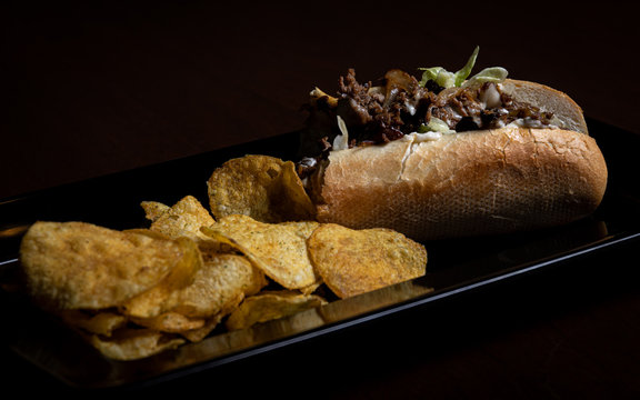 Philly Cheese Steak Hoagie with Chips