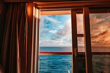 Sea seen from cruise room window