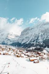 Switzerland Winter Town in Snow