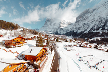 Aerial view of skiing village