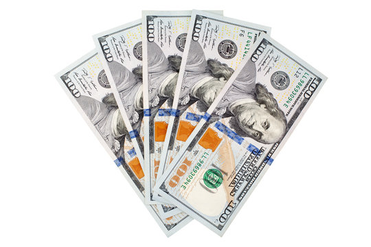 One hundred us dollar banknotes on white background isolated close up, 100 american dollars fan, fanned cash paper money bundle top view