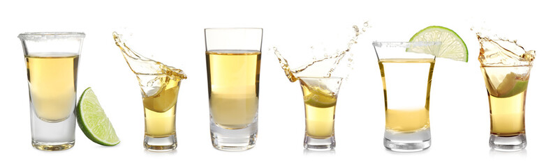 Set of Mexican Tequila shots on white background. Banner design