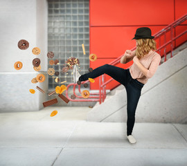 Diet Woman Kicking Donut Snacks