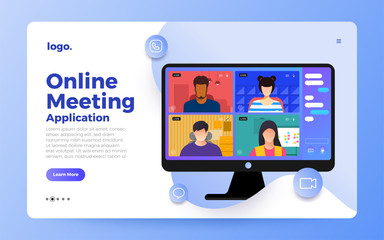Illustrations flat design concept video conference. online meeting work form home. Vector illustrate.
